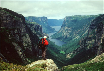 Guide Bob Hicks looks out over Western Brook Pond on Newfoundland's west coast.