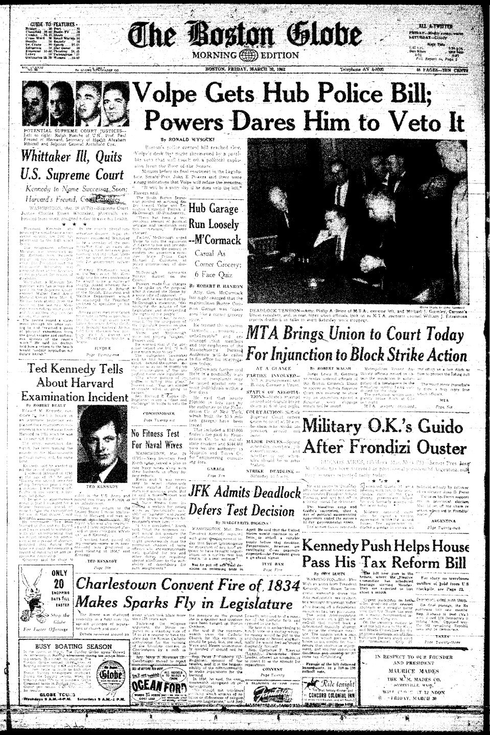 Boston Globe front page: Ted Kennedy caught cheating at Harvard