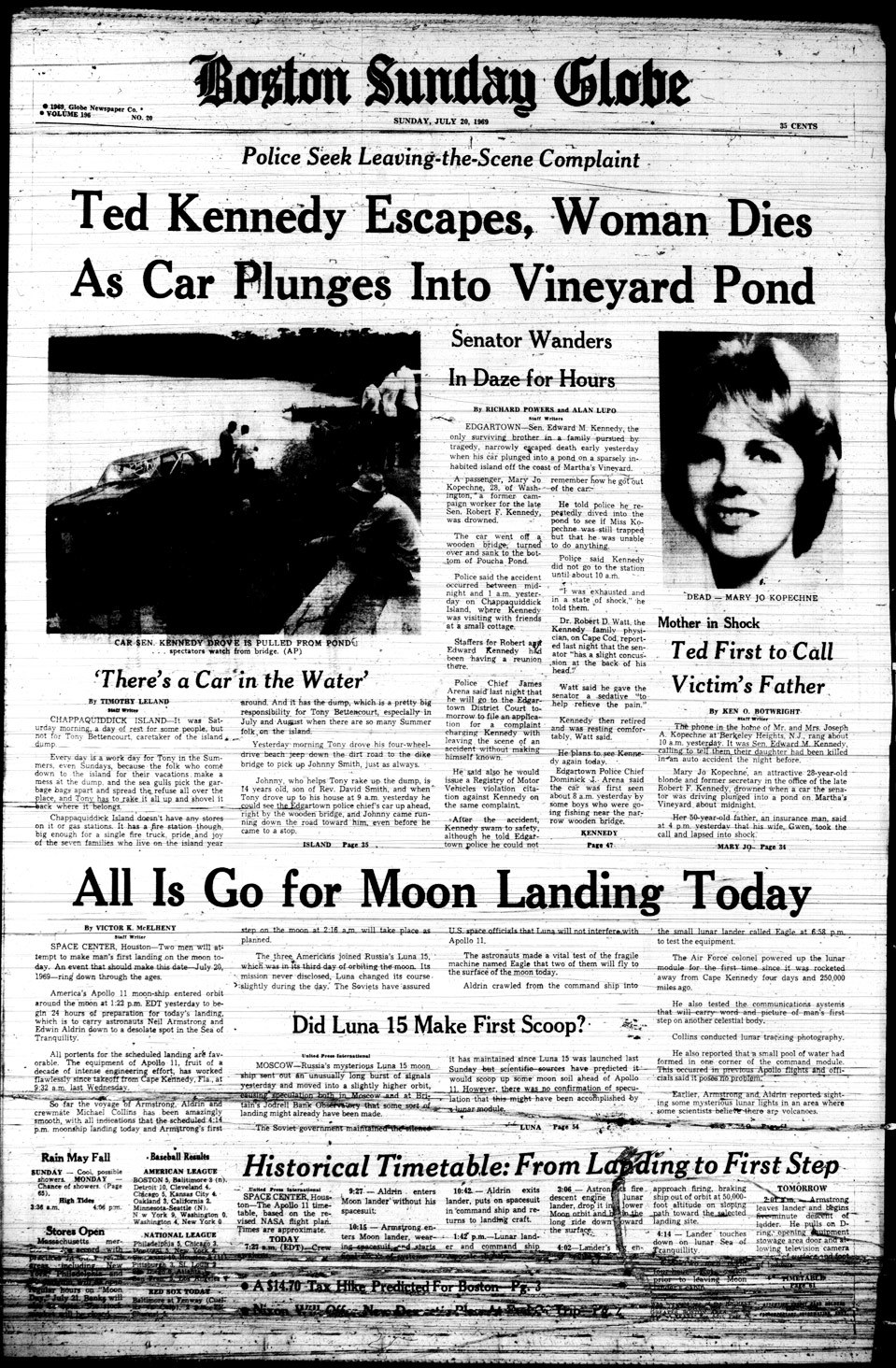 Boston Globe front page: 'Ted Kennedy Escapes, Woman Dies As Car Plunges Into Vineyard Pond'