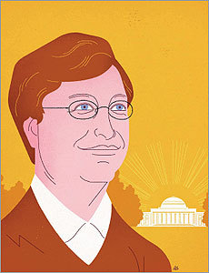 Illustration of Bill Gates by Jesse Lefkowitz
