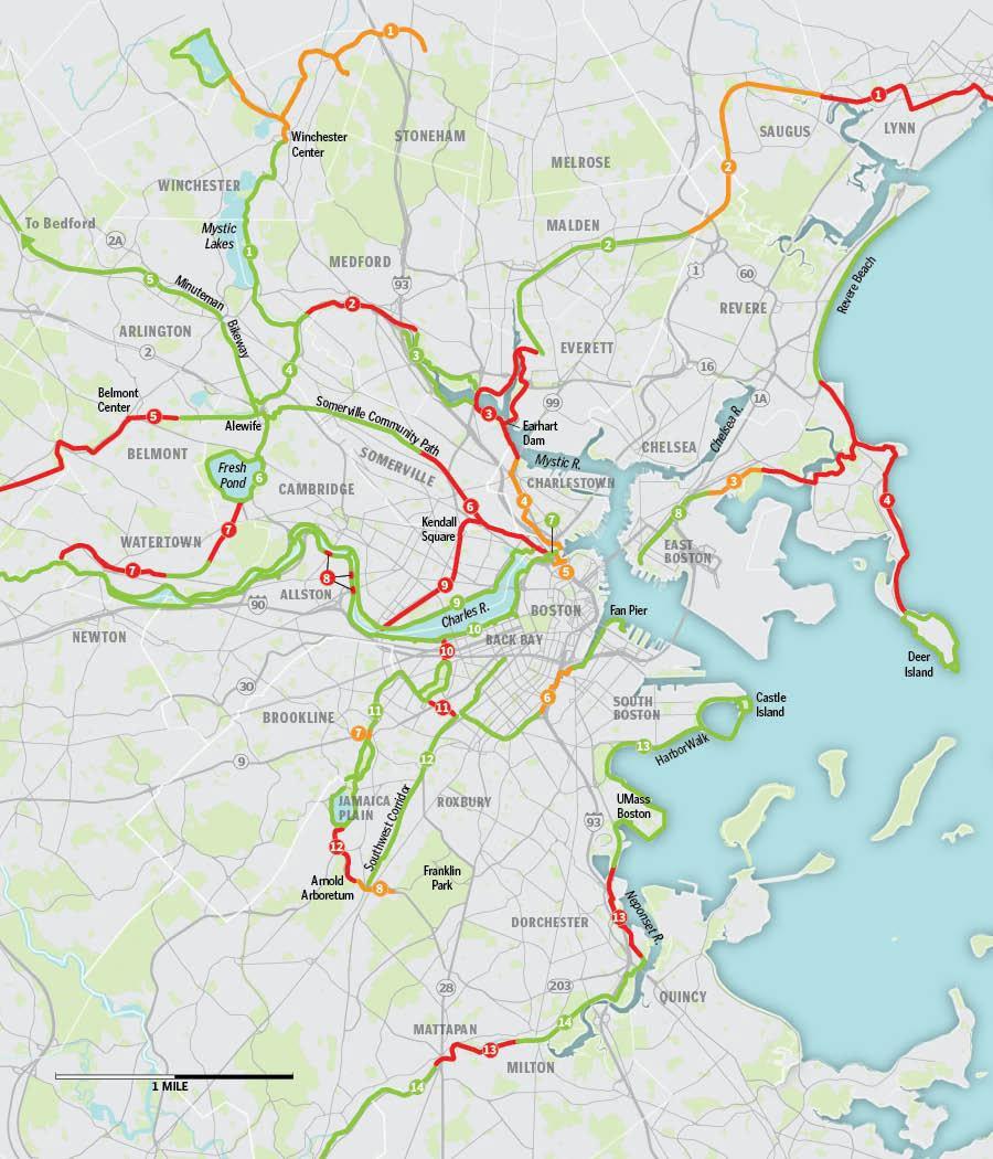 Map Offstreet bikeways for Boston cyclists Bostoncom