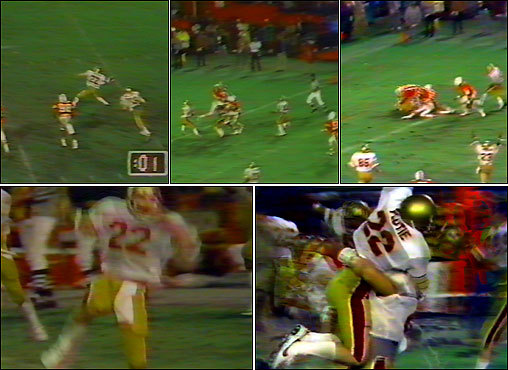 'The Pass' began with seconds remaining and BC trailing the University of Miami, 45-41. Flutie dropped back while his receivers sprinted downfield. Avoiding the pass rush, Flutie stepped forward and hurled the ball 64 yards, into the arms of Phelan.