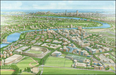 Artist's rendering of completed plan for Harvard