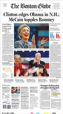 Take a look at the headlines from around the country as the nation reacted to the results of Tuesday's New Hampshire Primary elections. The Boston Globe featured an elated Hillary Clinton as well as a victorious John McCain.