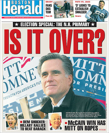 The Boston Herald chose to focus on Mitt Romney's loss and the danger his campaign may be in.