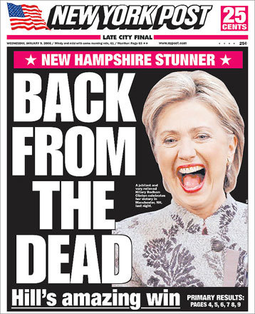 The New York Post dubbed Senator Hillary Clinton's victory a 'New Hampshire Stunner.'