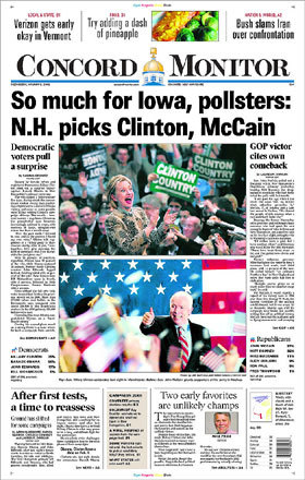 New Hampshire's Concord Monitor showed that Clinton and McCain won despite their showings in Iowa.