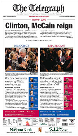 The Telegraph of Nashua, N.H., split the headlines between Clinton's surprise victory and McCain's comeback win.