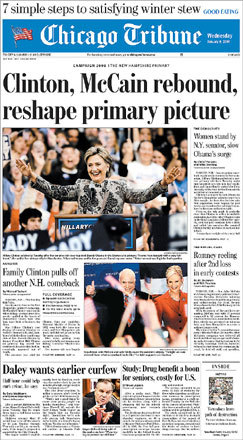 The Chicago Tribune saw the surprise victories reshaping the primary picture.