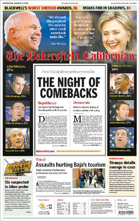 The Bakersfield Californian called Tuesday's New Hampshire primary 'the night of comebacks.'