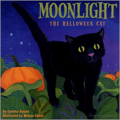 "Moonlight: The Halloween Cat by Cynthia Rylant (author) and Melissa Sweet (illustrator) If you're looking for a soothing and finely illustrated story about Halloween for a very young child, 'Moonlight: The Halloween Cat'' is a great choice. Halloween is Moonlight's favorite night, and author Cynthia Rylant describes how he enjoys walking around the neighborhood, watching the children arrayed in their Halloween costumes, and seeing the jack-o-lanterns glow. Illustrator Melissa Sweet's skillful artwork provides a window on a magical Halloween night. ""Moonlight"" communicates not just the excitement of Halloween, but also the warmth and community spirit of the evening."