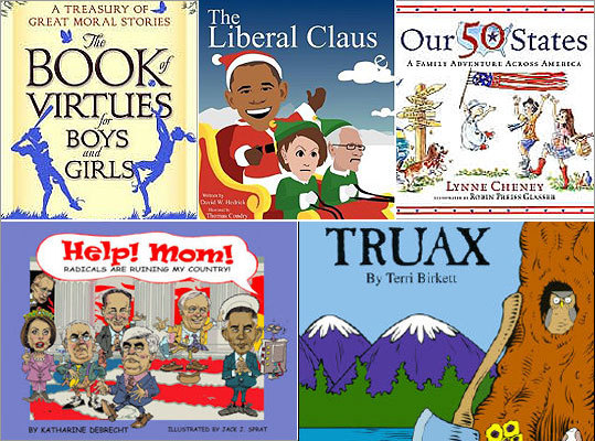 Right-wing children's books (like those pictured left) are on the rise, but politics has often been woven into such bedtime stories. Click through for a look at liberal and conservative themes in classic children's books.