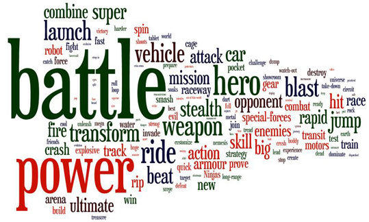 Word cloud of commercials for boys toys.