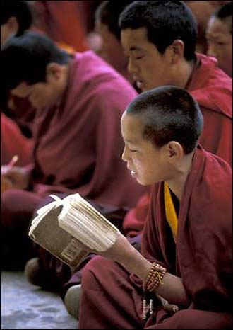 Young monks begin and end their days with chanting of mantras and text. The old traditions still continue, even in the face of growing modernization and secular government control.