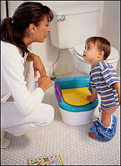 Toilet training happens best when fueled by the child, not the parents, according to child development specialists.