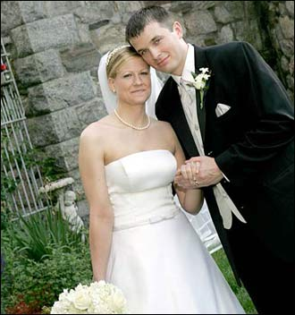 Stacy Wilkinson and Christopher Hughes were married in North Andover on June 19th, 2004. The bride and groom met while attending Bentley College and had been dating for 6 years before they were married at the Trinitarian Congregational Church in North Andover with reception following at Searles Castle in Windham, N.H. Stacey says, 'my wedding was a fairy tale - not just because we were able to have it at a beautiful castle, but because we were fortunate enough to find each other and to have our friends and family share this day with us. '
