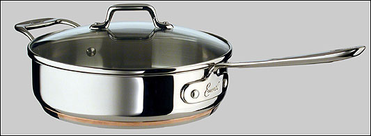 A 3-quart covered saute pan by Emilware Stainless Steel.