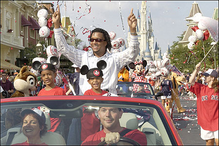 Pedro Martinez was the main attraction on Main Street at Disney World yesterday, but his future in Boston is uncertain.