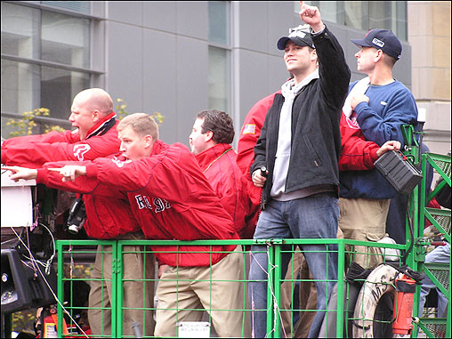 Daniel Salvati's photo shows Sox manager Theo Epstein telling the fans what they already know - that the Red Sox are number one!