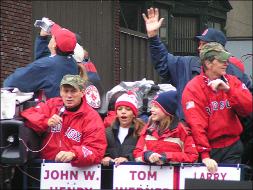 Paul Weston of Malden took this photo of Red Sox president Larry Lucchino (left) and owner John Henry on Tremont Street.
