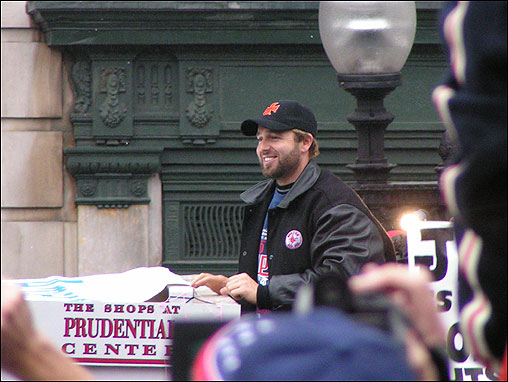 Paul Weston also sent in this great shot of a smiling Kevin Millar traveling down Tremont Street.
