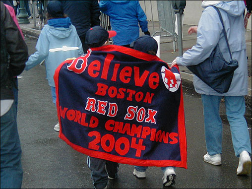 Dan Zandman of Newton emailed this photo of two young Red Sox Nation members wrapped up in a banner.