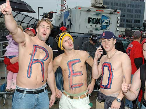 Anton Spaans of Boston took this picture of shirtless fans at the corner of Dalton and Boylston streets.
