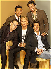 The Straight Guy 's Fab Five specialists. From left: Ted Allen (food and wine), Jai Rodriguez (culture), Carson Kressley (fashion), Thom Filicia (design), and Kyan Douglas (grooming).