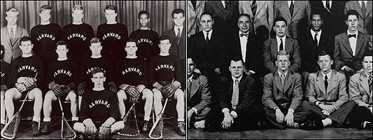 At left: Lucien Alexis (second from top right) with the varsity lacrosse team in 1941. Coach Dick Snibbe is at top left. At right: Drue King (second from top right) with the Glee Club. Director G. Wallace Woodworth is third from top left.