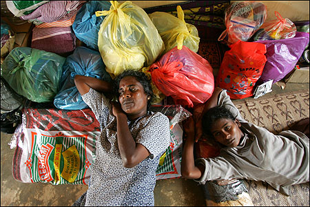 People made homeless by the tsunami rested yesterday at a camp in Mulliyawalai, a Tamil-controlled town in northern Sri Lanka.