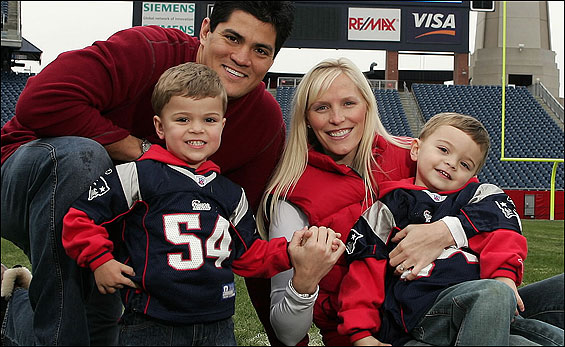 Patriots star linebacker Tedy Bruschi and his wife, Heidi, with two of their sons, Tedy Jr. (L) and Rex, at Gillette Stadium in Foxborough last year.
