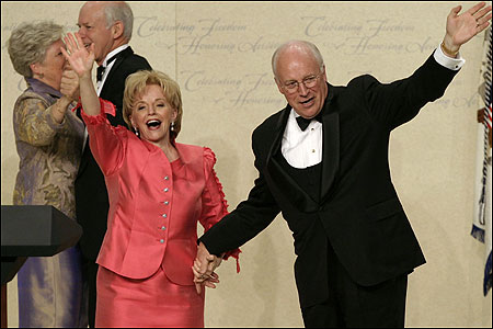 Vice President Dick Cheney and his wife, Lynne, arrived last night at the Texas Wyoming Ball in Washington.