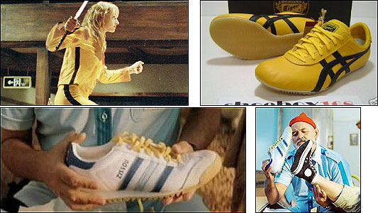 Bill Murray (bottom right) brandishes a ''Team Zissou'' Adidas sneaker (bottom left) in ''Life Aquatic.'' Yellow-and-black Tai Chi Onitsuka sneakers (top right) like those worn by Uma Thurman in ''Kill Bill.''