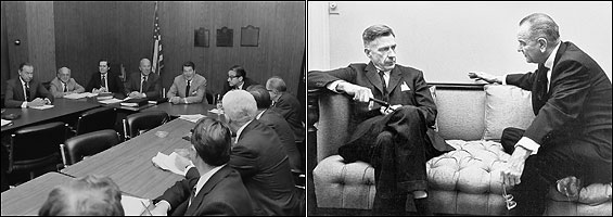 Left, Milton Friedman (second from left) at a meeting of president-elect Ronald Reagan's top economic advisors, November, 1980. Right, John Kenneth Galbraith and President Lyndon Johnson discussing economic policy, 1966.