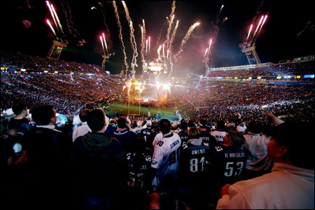 Fireworks explode as singer Paul McCartney performs during the Super Bowl XXXIX halftime show at Alltel Stadium in Jacksonville.