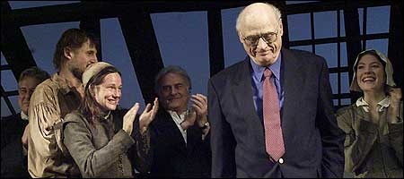 Arthur Miller took a bow March 7, 2002, during the opening the 'The Crucible' at the Virginia Theater in New York City. (Getty Images Photo)