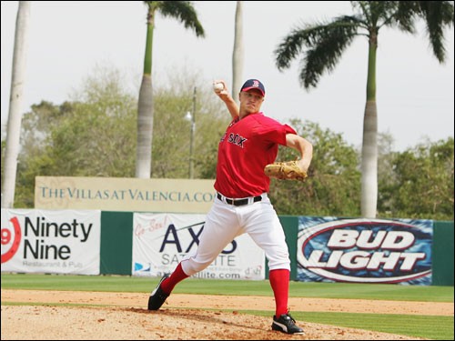 Red Sox pitcher Mike Timlin threw one inning of yesterday's spring training game with the Minnesota Twins.