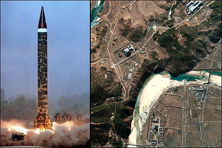 Left: Pakistan's Ghauri missile, shown being tested in May 2002, has a range of 900 miles and can carry nuclear warheads. Right: A March 2002 satellite image shows the Yongbyon nuclear facility in North Korea. North Korea announced in February that it had manufactured nuclear weapons to protect itself against a US attack.