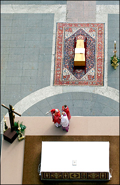 Cardinal Joseph Ratzinger blessed the coffin during the funeral of Pope John Paul II in St. Peter's Square.
