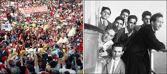 Pope John Paul II tours St. Peter's Square on May 30, 1998 (left) during a meeting with Ecclesial Movements and New Communities, which drew an estimated 250,000 participants. He encouraged the growth of populist lay movements like Communion and Liberation (Comunione e Liberazione, right), founded in 1954 by Father Luigi Giussani. Father Giussani (far right, in 1956) died in February at age 82.