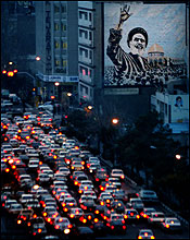 Religion is deeply intertwined with all aspects of life in Iran. Evening rush-hour traffic in downtown Tehran, January, 2005.