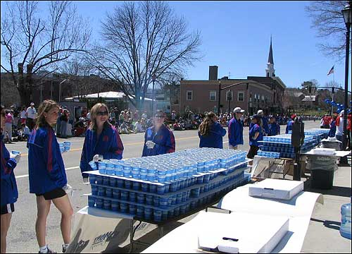 Water table volunteers prepared for the onslaught of runners.