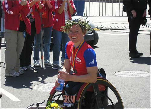 Women's wheelchair race winner Cheri Blauwet of Menlo Park, Calif., savored her victory.