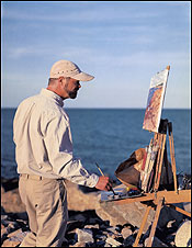 Painter Caleb Stone at Rockport's Loblolly Cove, a favorite subject of local artists.