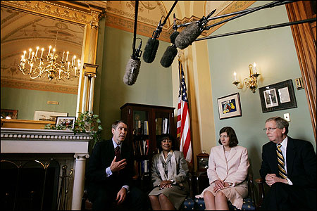 Senate majority leader Bill Frist (far left) and majority whip Mitch McConnell (far right) meet with judicial nominees Janice Rogers Brown (left center) and Priscilla Owens at the US Capitol on Tuesday. Last week, the Republicans formally began their push to change the rules on filibusters that have prevented some of President Bush's judicial nominees from coming to a vote before the full Senate.