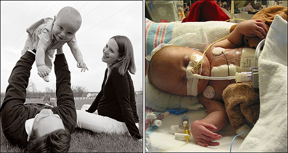 The Deffaas (left) - Brian, Jennifer, and 16-month-old William – near their new home in Michigan. About 10 days old, William Deffaa (right) lies in intensive care at Children's Hospital in Boston last year. Three months before he was born, doctors diagnosed him with what would have been a fatal heart defect and attempted to correct his condition with experimental surgery while he grew in his mother's womb.
