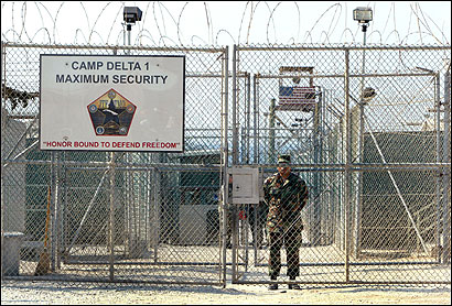 A US Army soldier stood at the entrance to Camp Delta in Guantanamo Bay, Cuba earlier this spring. About 520 detainees are being held at the prison without trial.