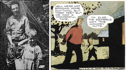 Frank King with his son Robert (left), who was the inspiration for the character Skeezix in King's popular comic 'Gasoline Alley.'