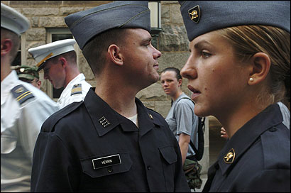 West Point cadet Bryan Herrin (center), 22, said he accepts the possibility of facing combat after he graduates in 2006.