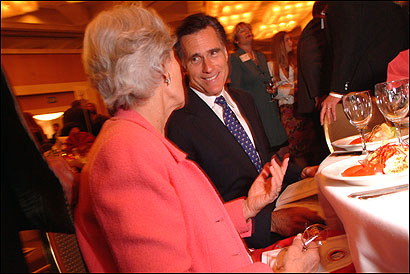 Governor Mitt Romney chatted with LaDorna Eichenberg at the Republican Party of Orange County dinner last night.